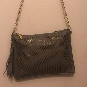 NWOT Gray and gold cross body/ wristlet bag